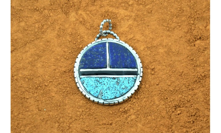 Sun turquoise lapis and black onyx pendant