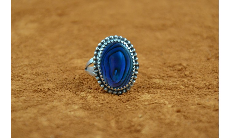 Blue abalone ring