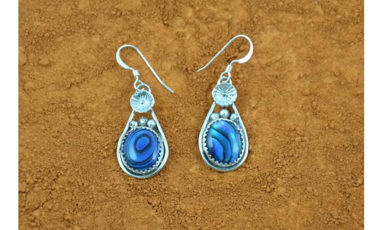 Boucles d'oreille abalone bleue