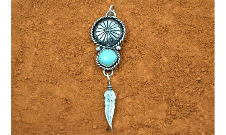 Pendentif turquoise et plume