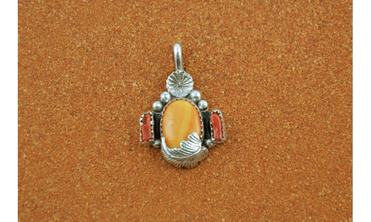 Spiny  oyster and coral pendant
