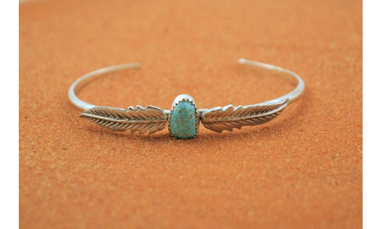 Turquoise and feathers native american bracelet
