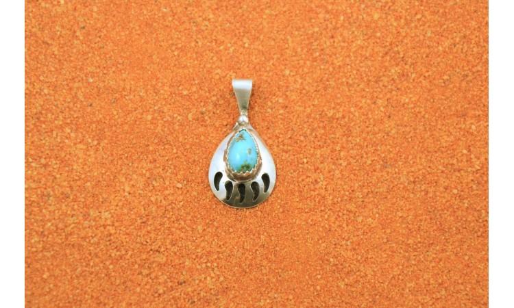 Turquoise bear paw pendant