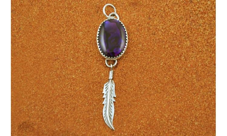 Feather & purple paua shell pendant