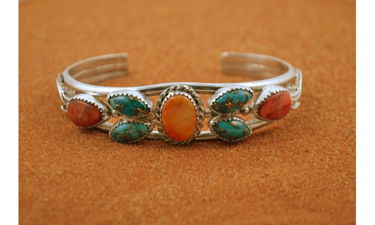 Spiny oyster and mojave turquoise bracelet