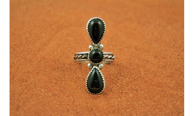 Black onyx native american ring