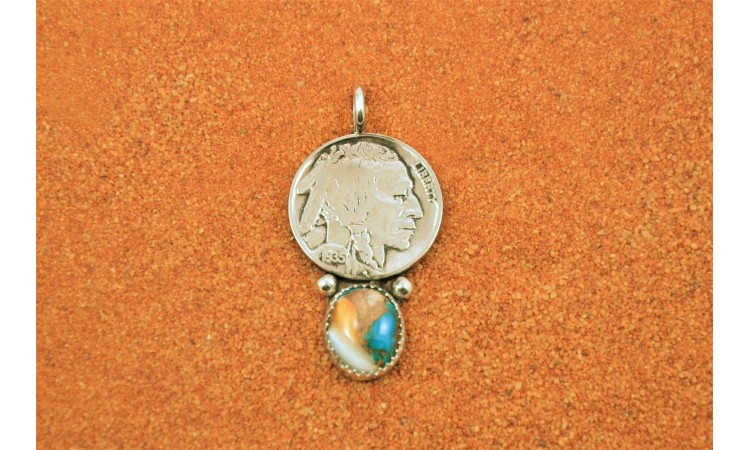 Oyster copper turquoise pendant