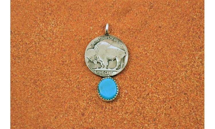 Pendentif bison turquoise kingman