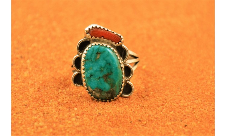 KIngman turquoise and coral ring