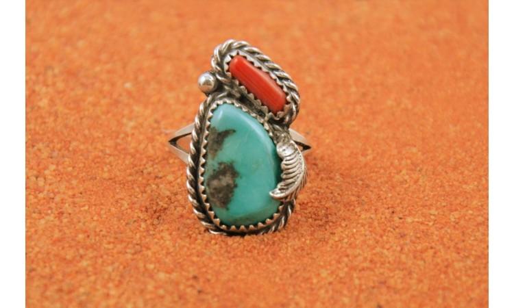 Bague turquoise kingman et corail