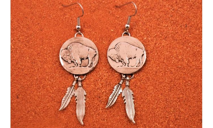 Boucles d'oreilles bison