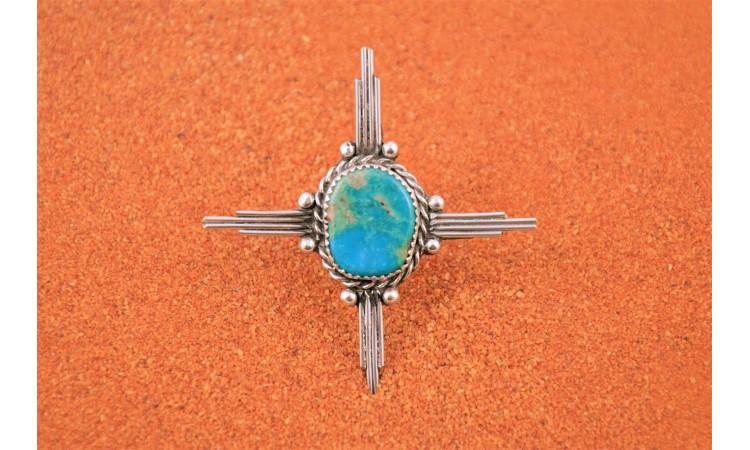 Bague turquoise croix Zia