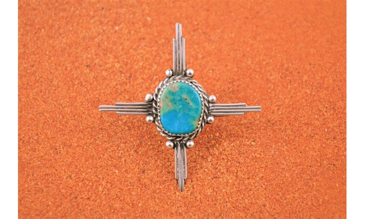 Zia cross turquoise ring