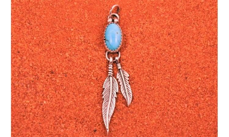 Pendentif turquoise et plumes