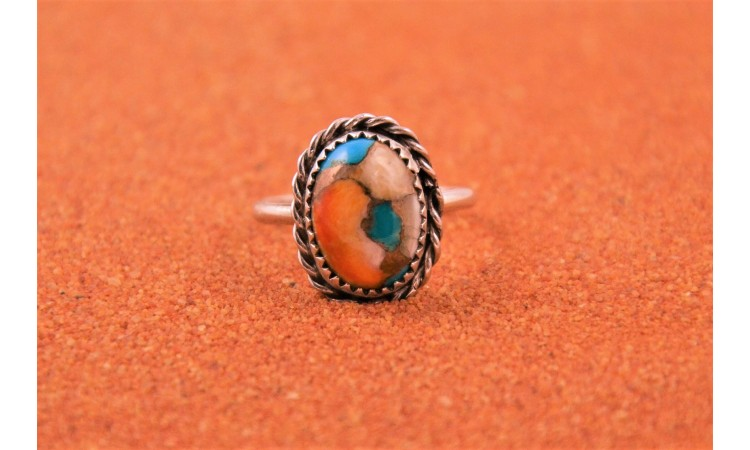 Oyster copper turquoise ring