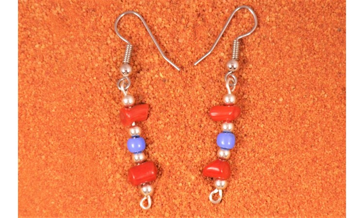Coral and beads earrings