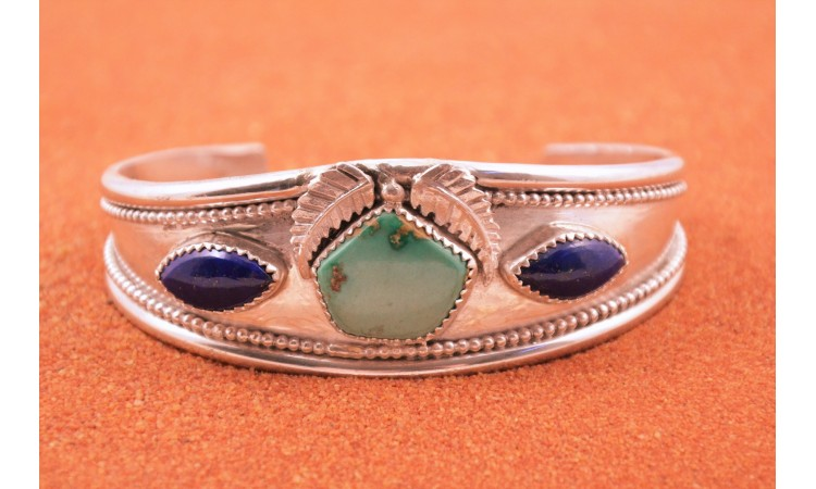 Bracelet turquoise royston et lapis lazuli