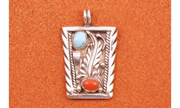 Navajo turquoise and coral pendant