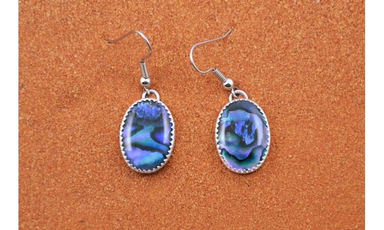 Boucles d'oreilles abalone bleue