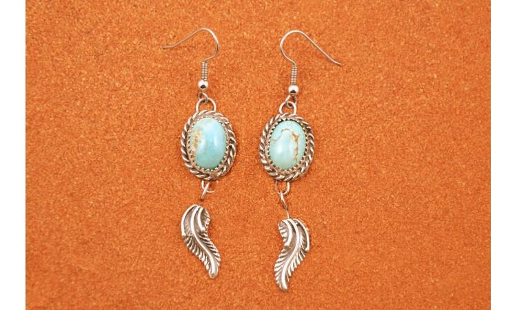Boucles d'oreilles turquoises et plume