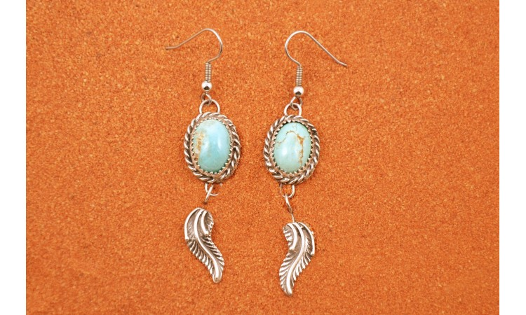 Turquoise and feathers earrings