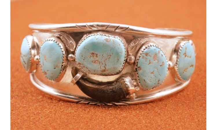 Turquoise and wolf claw bracelet