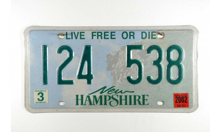 New Hampshire license plate year 1999