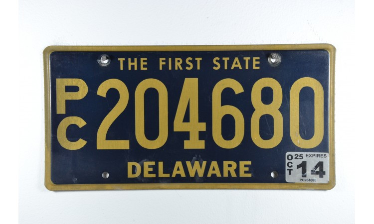 Delaware first state license plate year 2014