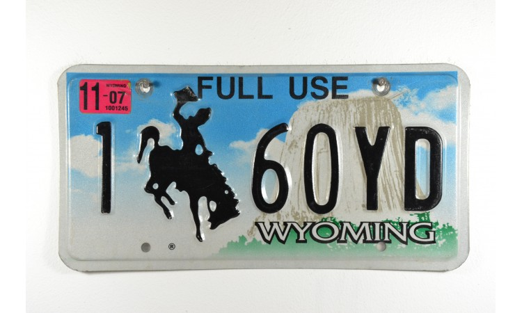 Wyoming Bronco license plate year 2007