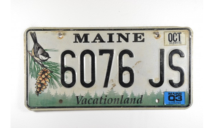 Maine state license plate year 2003