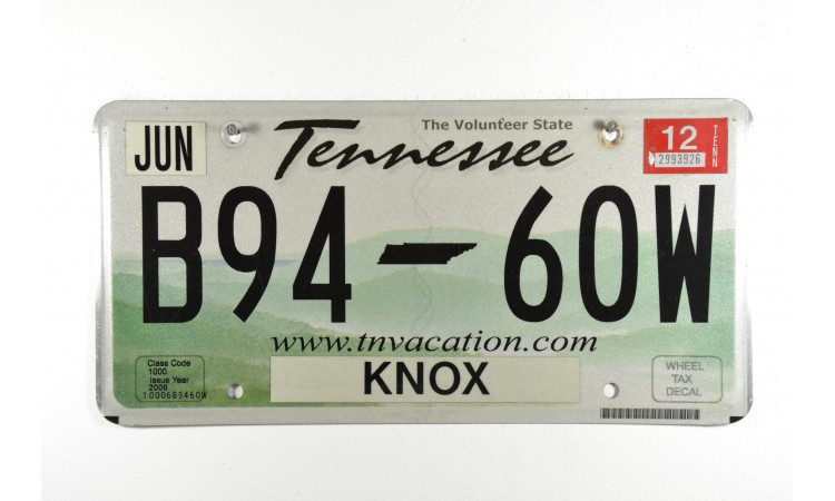Tennessee license plate year 2012